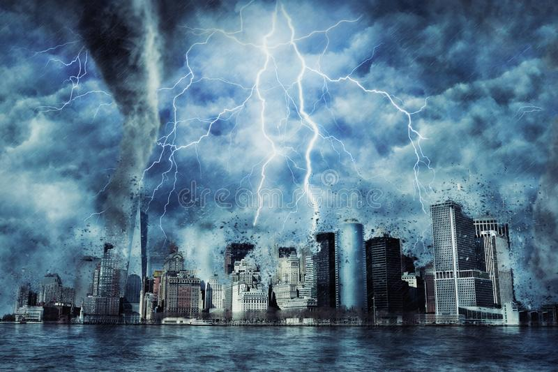 New York City during the heavy storm, rain and lighting in New York royalty free stock photography