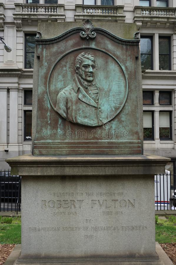 Historic St. Pauls Chapel graveyard. New York City : Historic St. Paul s Chapel graveyard. Old tomb from robert fylton. in Financial District in Lower Manhattan royalty free stock image
