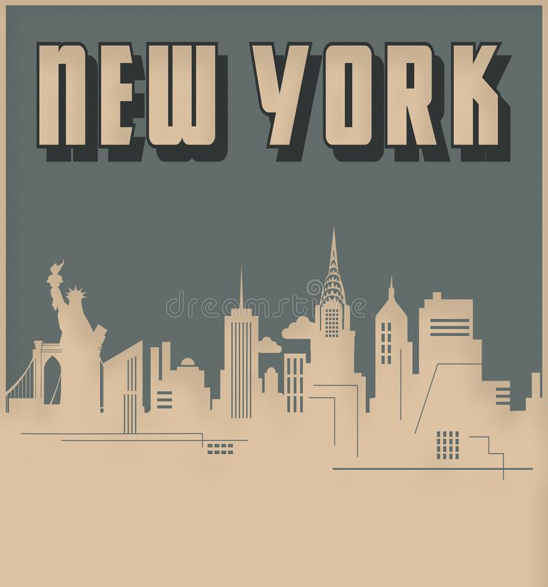 New York City horisont Art Deco Style Vintage Retro stock illustrationer