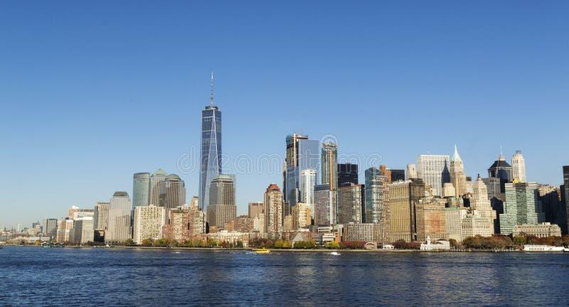 New York City horisont Freedom Tower arkivbild