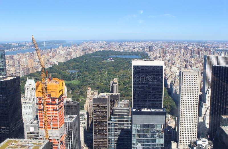 New York City horisont och Central Park royaltyfri fotografi