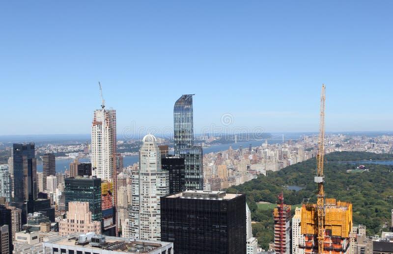 New York City horisont och Central Park royaltyfria foton