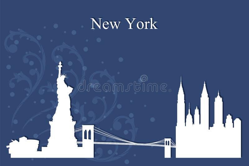 New York City horisontkontur på blå bakgrund vektor illustrationer