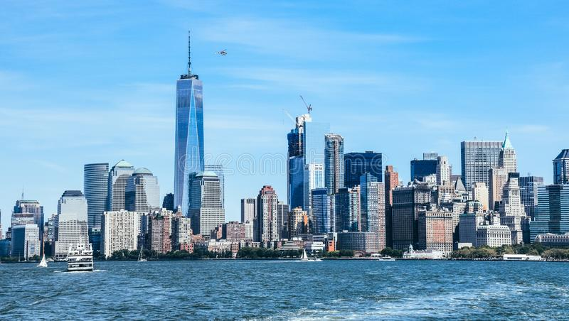 New York City and Hudson Cityscape stock image