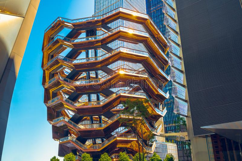 New York City, Hudson Yards, VesselTKA e arranha-céus imagem de stock