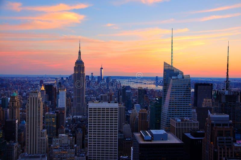 New York City i solnedgång royaltyfri foto