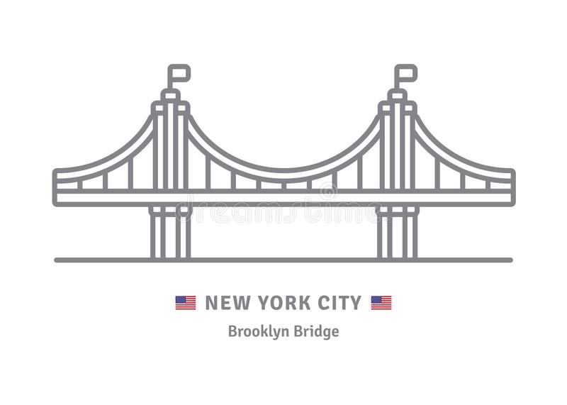 New York City Icon With Brooklyn Bridge And US Flag Stock ...