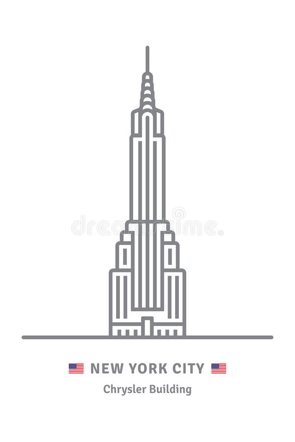 New York City icon with Chrysler Building and US flag stock illustration