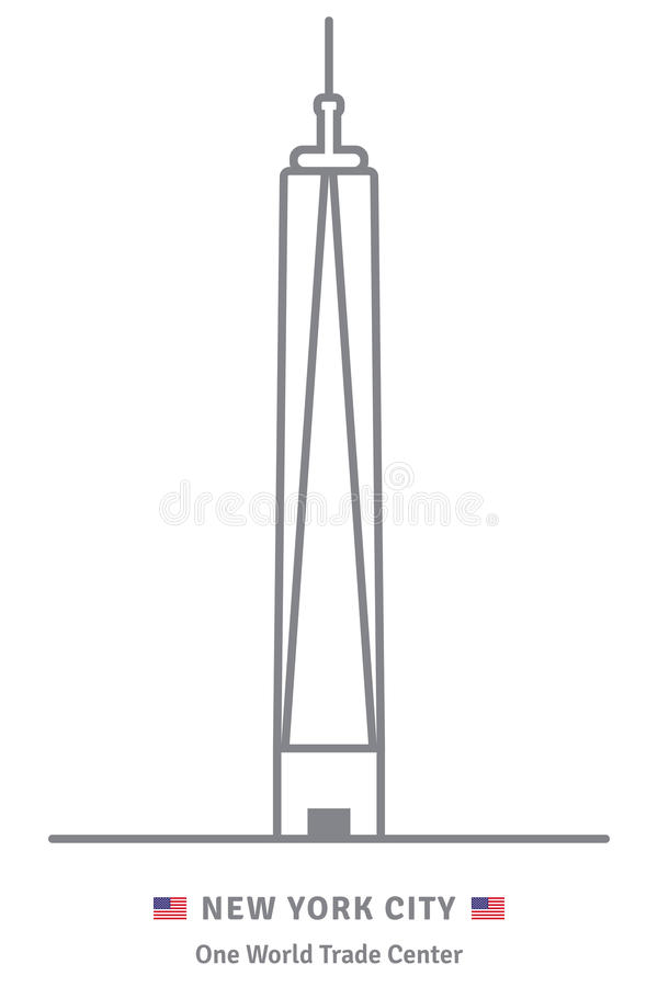 New York City icon with One World trade Center building and US f stock illustration