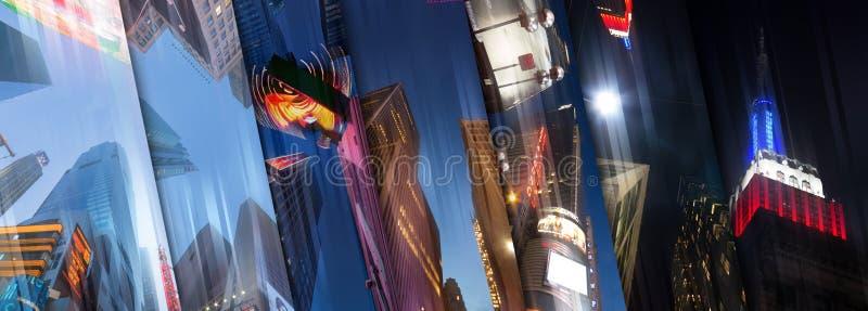 New York City ilumina a opinião do céu da colagem fotos de stock
