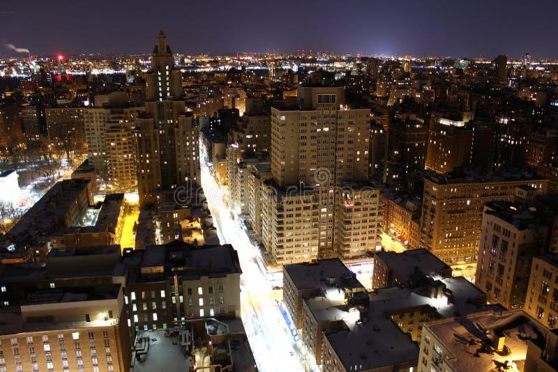 New York City, indicatori luminosi di NY alla notte fotografia stock