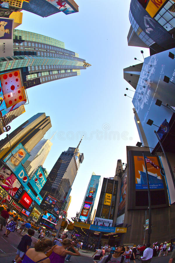 Times Square is a symbol of New York City. NEW YORK CITY - JUL 8: Times Square, featured with Broadway Theaters and huge number of LED signs, is a symbol of New royalty free stock image