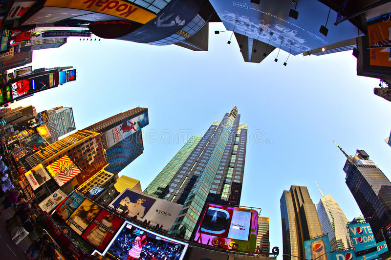 Times Square is a symbol of New York City. NEW YORK CITY - JUL 8: Times Square, featured with Broadway Theaters and huge number of LED signs, is a symbol of New stock photo