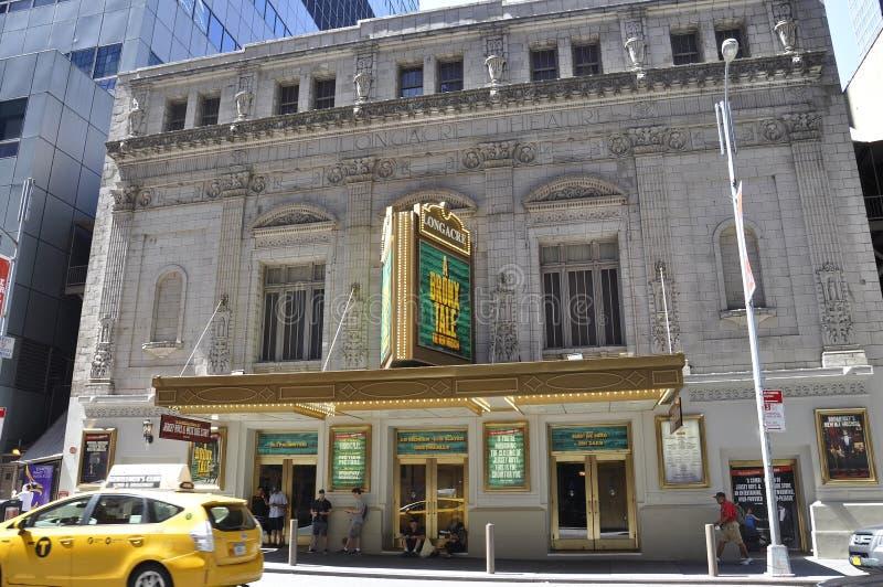 New York City, am 2. Juli: Longacre-Theatergebäude in Midtown Manhattan von New York City in Vereinigten Staaten stockfotos