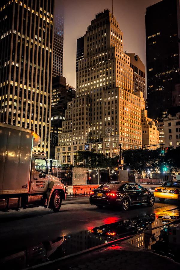 NEW YORK CITY - JULY 21: Road traffic at night on July 01, 2015 in New York royalty free stock photography