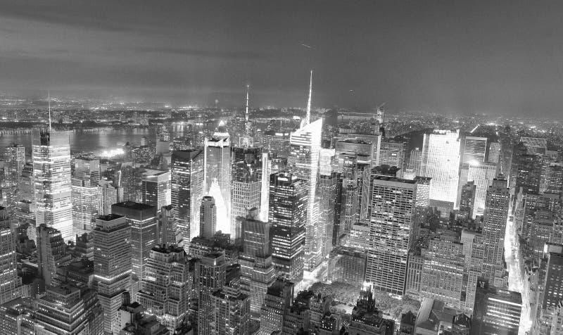 NEW YORK CITY - JUNE 9, 2013: Amazing night skyline of Manhattan. New York attracts 50 million people every year royalty free stock photos