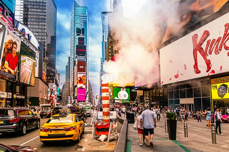 Busy Times Square in NYC. The place is famous as world`s busiest place for pedestrians and an iconic landmark in Manhattan. New York City - June 14, 2017: Busy royalty free stock photo