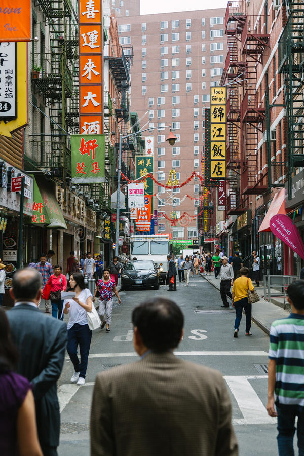 NEW YORK CITY - JUNE 16: Chinatown with an estimated population stock photo