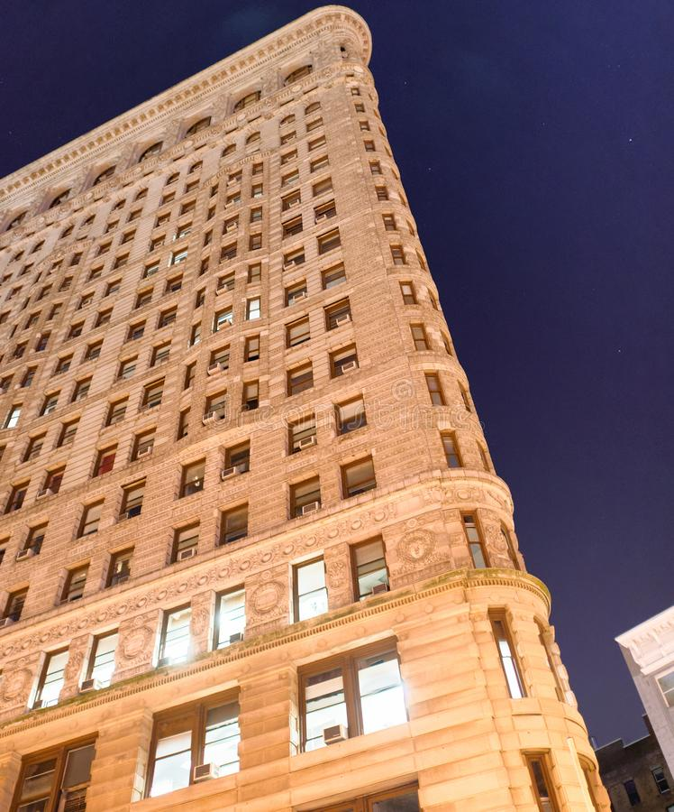 NEW YORK CITY - JUNE 15, 2013: Flatiron building at night from t royalty free stock photography