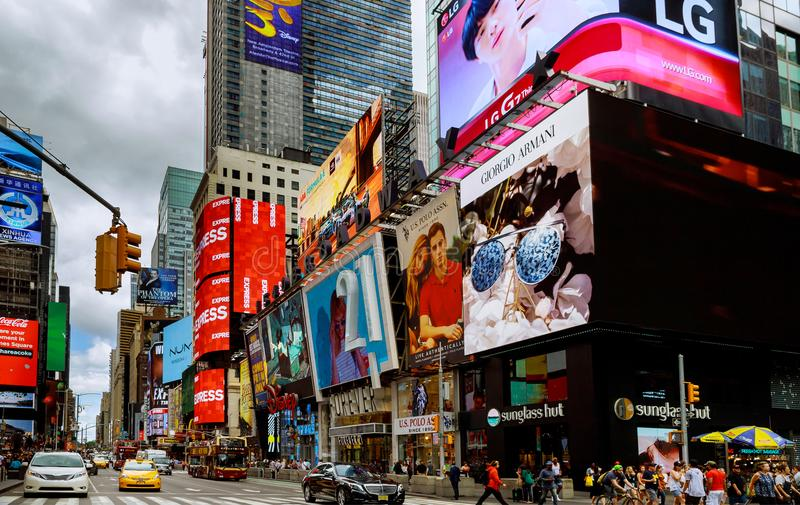NEW YORK CITY - June 15, 2018: Manhattan, New York City. Times Square is featured with Broadway Theaters signs as a symbol of NewY stock photo