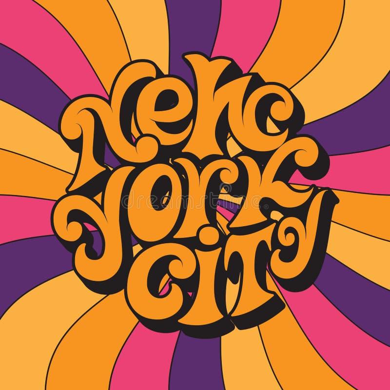 New York City Klassische psychedelische Beschriftung 60s und 70s vektor abbildung