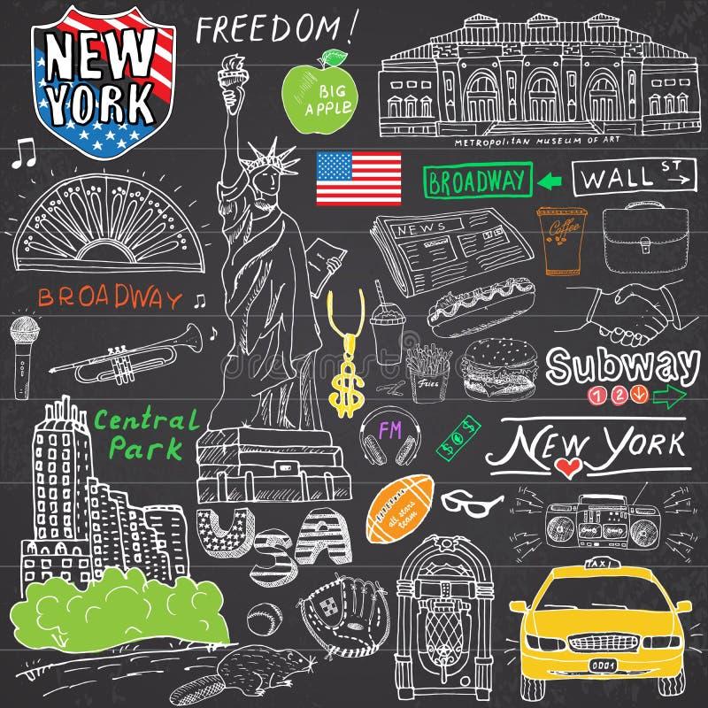 New York City klottrar beståndsdelar Hand dragen uppsättning med, taxi, kaffe, hotdog, staty av frihet, broadway, musik, kaffe, t vektor illustrationer