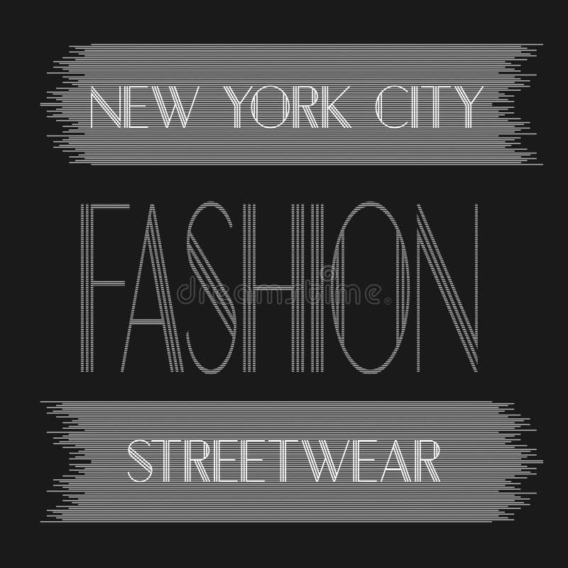 New York City konst Grafisk stil NYC för gata Stilfullt tryck för mode Malldräkt, kort, etikett, affisch emblem t-skjorta stämpel vektor illustrationer