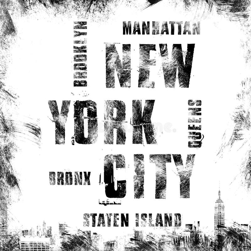New York City konst Grafisk stil NYC för gata Stilfullt tryck för mode Malldräkt, kort, etikett, affisch emblem t-skjorta stämpel royaltyfri illustrationer