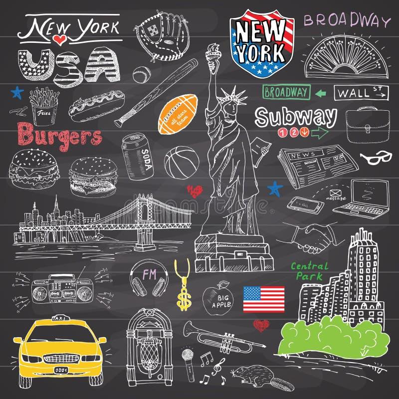 New York City kritzelt Elementsammlung Hand gezeichneter Satz mit, Taxi, Kaffee, Würstchen, Burger, Freiheitsstatue, Broadway, Mu lizenzfreie abbildung