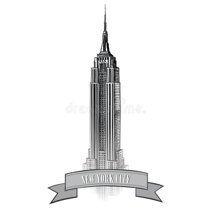 New York City Label. Vector USA landscape. Hand drawn sketch illustration. New York Symbol. Vector USA Label. Travel Sign. Manhattan Skyline with Empire State royalty free illustration