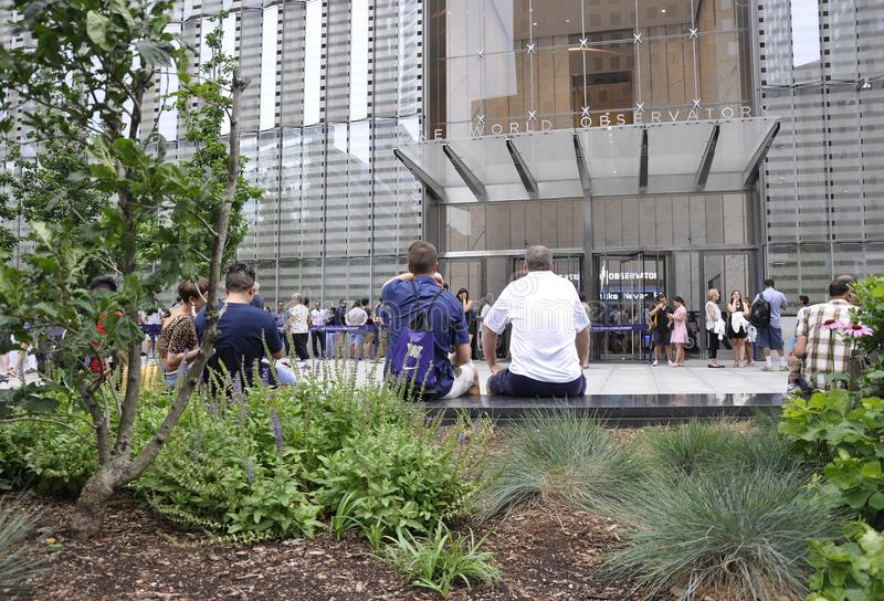 New York City, le 2 juillet : Entrée d'observatoire de Freedom Tower de Manhattan à New York City Etats-Unis images libres de droits