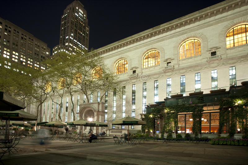 New York City Library at night stock photos