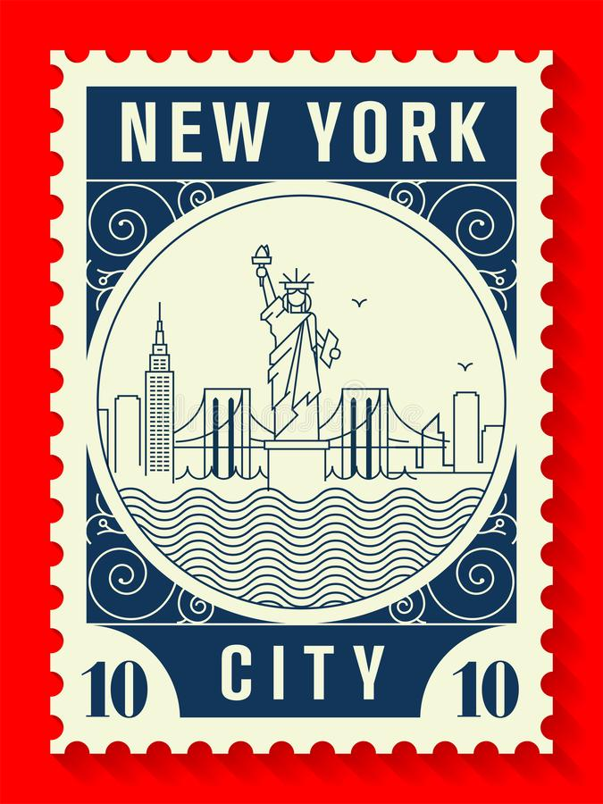 New York City Line Style Postage Stamp Design royalty free illustration