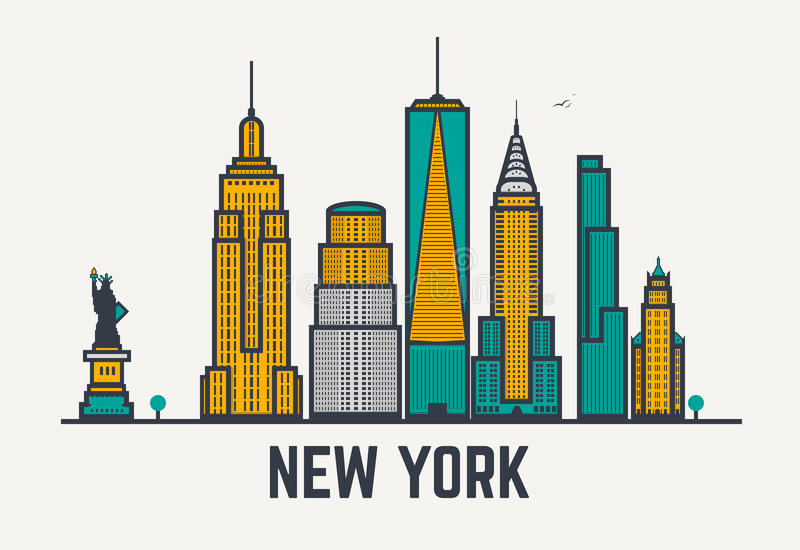New York city lines. New York city architecture skyline silhouette. Line pixel style art stock illustration