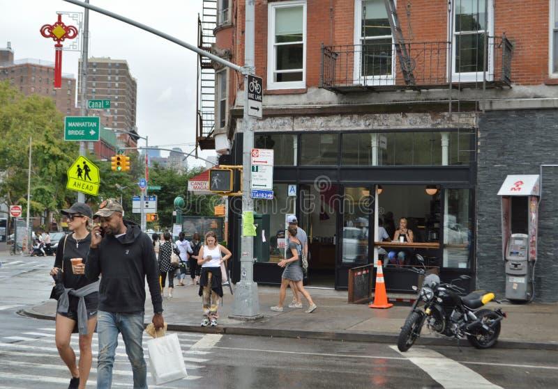 New York City Lower East Side Manhattan Street Scene People Walking stock images
