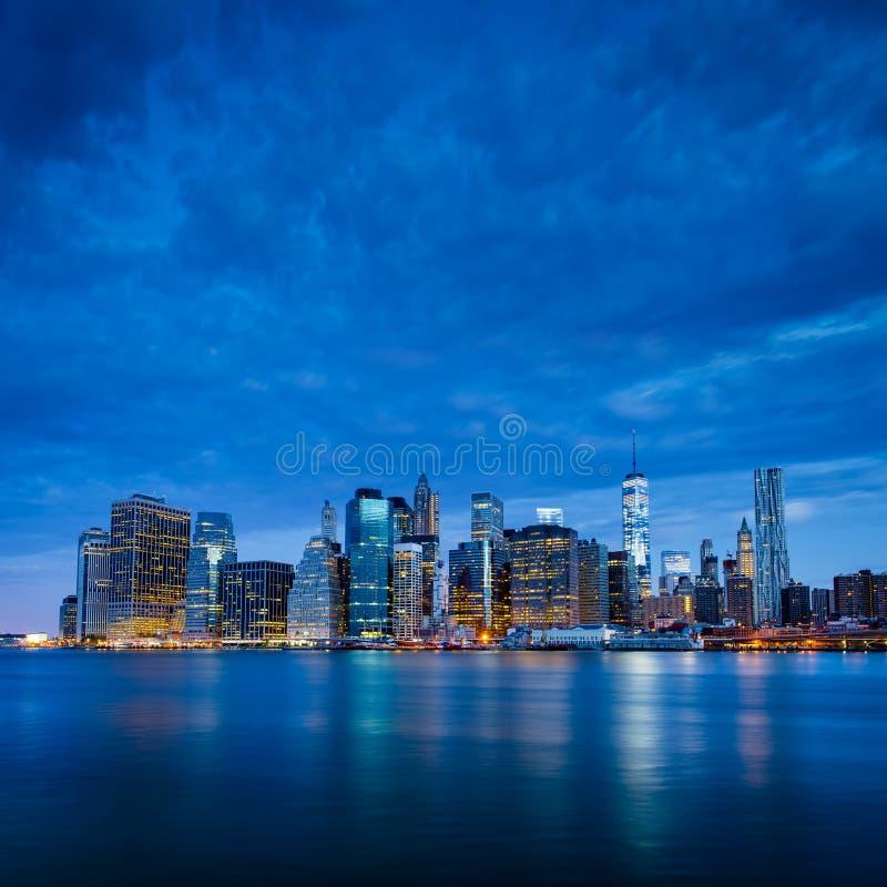 New York City - Lower Manhattan in blue morning stock photography