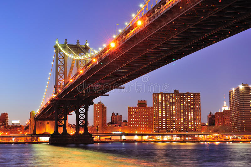New York City Manhattan Bridge over East River stock photos