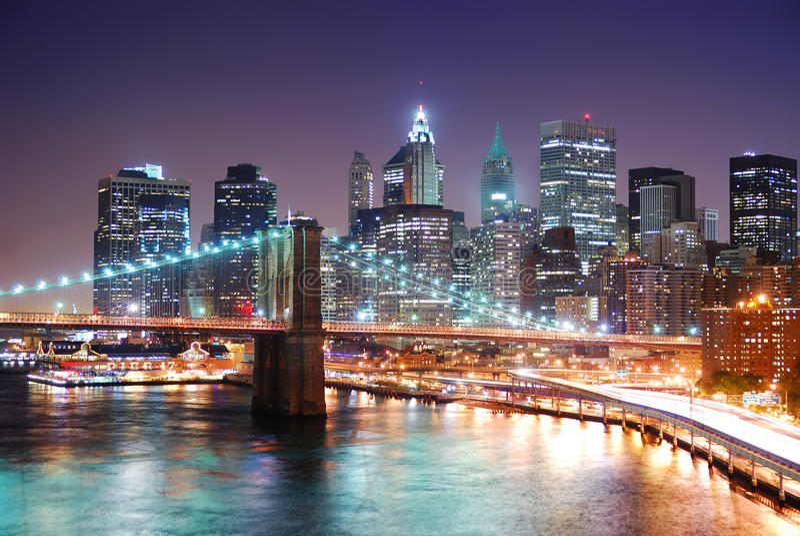 New York City Manhattan et passerelle de Brooklyn images libres de droits