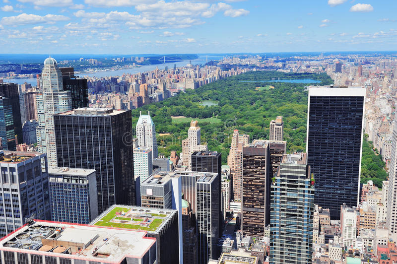 New York City Manhattan midtown. Aerial panorama view with skyscrapers and central park in the day royalty free stock photos
