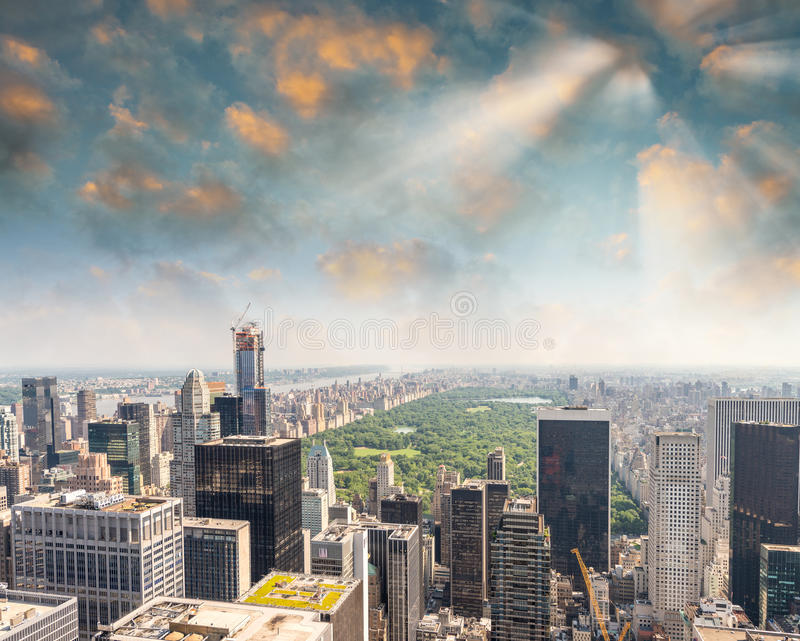 New York City Manhattan midtown aerial panorama view with skyscrapers and beautiful sunset sky stock photography