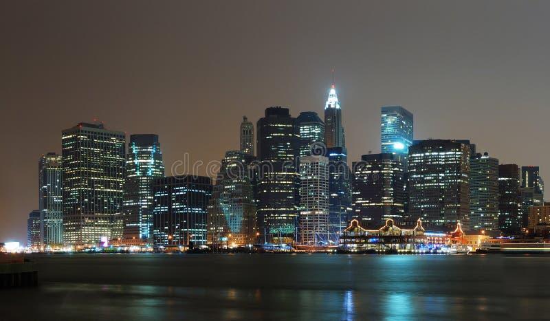 New York City Manhattan night scene panorama royalty free stock images