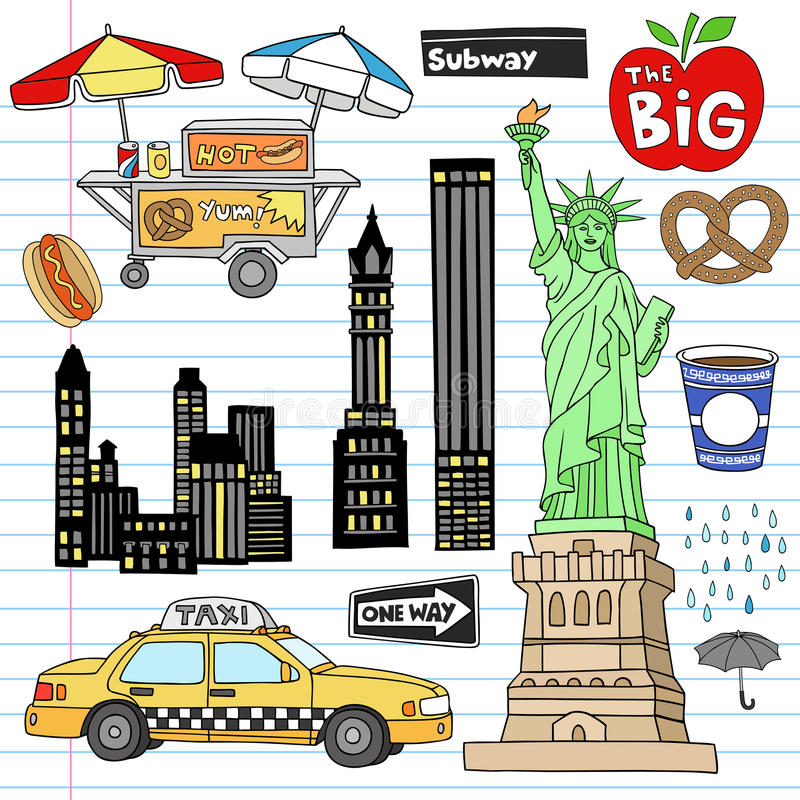 New York City Manhattan Notebook Doodle Vector Set. New York City Manhattan Notebook Doodle Design Elements Set on Lined Sketchbook Paper Background- Hand Drawn royalty free illustration