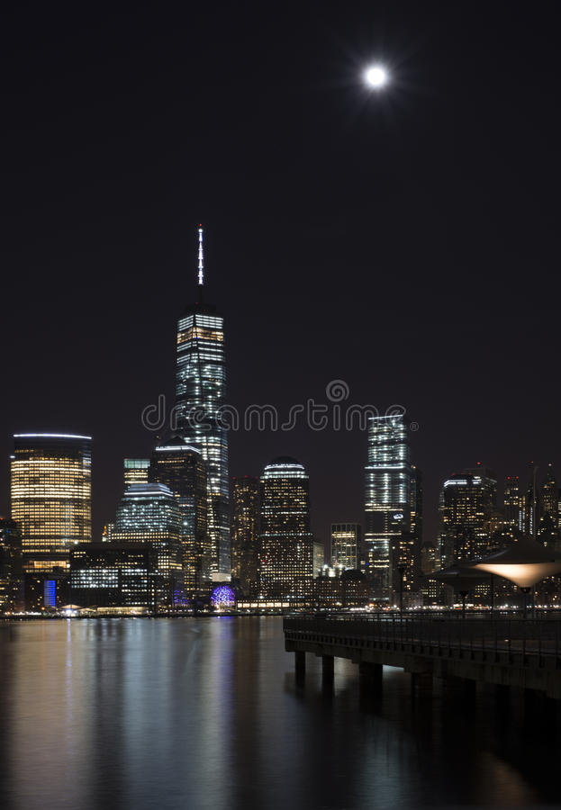 New York City manhattan notte Luna fotografie stock