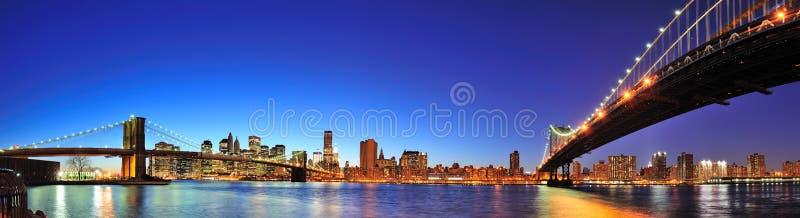 New York City Manhattan panorama at dusk royalty free stock photos