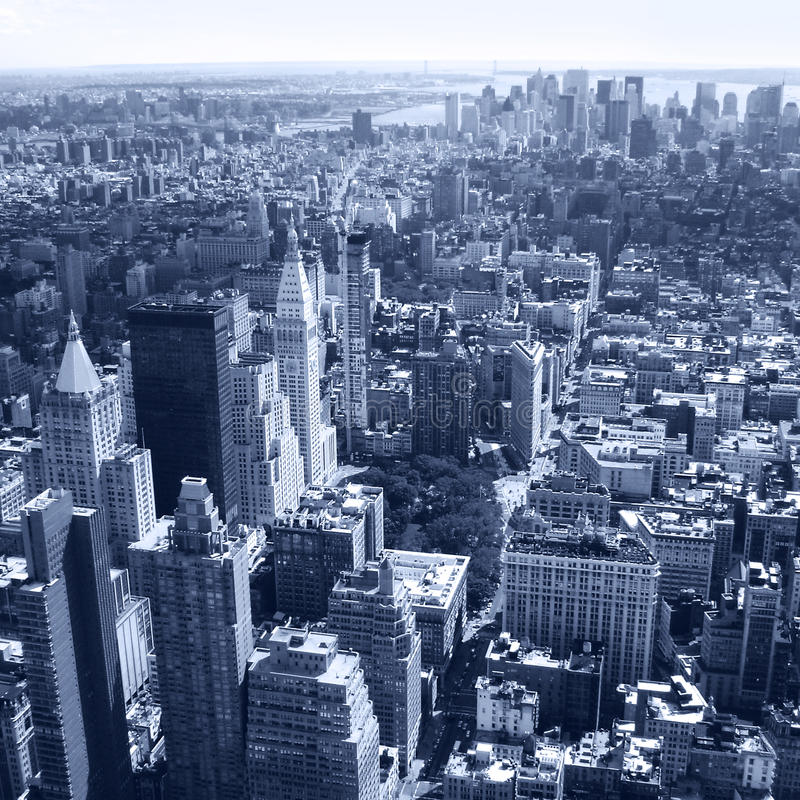 New York City, Manhattan Skyline aerial panorama view with skyscrapers. Black and White royalty free stock photography