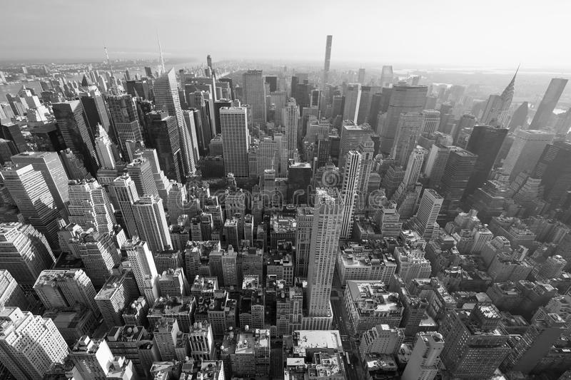 New York City Manhattan skyline, black and white aerial view royalty free stock photo