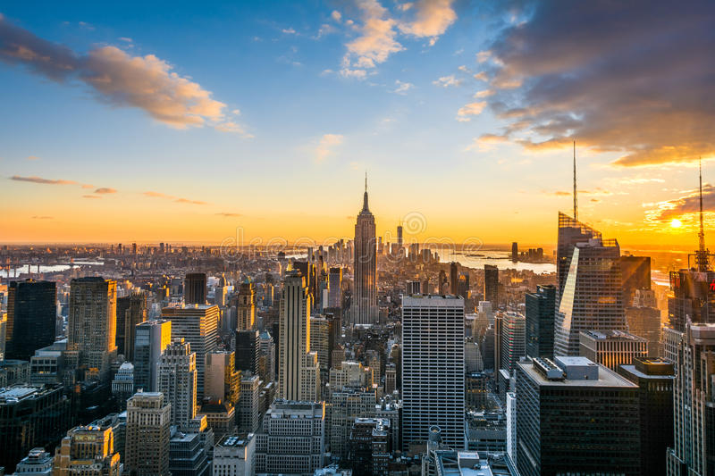 New York City Manhattan skyline at sunset, view from Top of the Rock, Rockfeller Center, United States. USA royalty free stock images