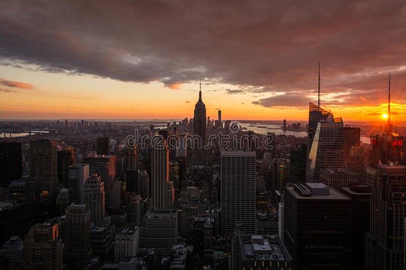 New York City Manhattan skyline at sunset, view from Top of the Rock, Rockfeller Center, United States royalty free stock photo