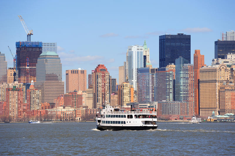 New York City Manhattan Skyscrapers And Boat Royalty Free Stock Images