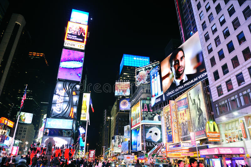 Download New York City Manhattan Time Square Night Editorial Image - Image: 18285550
